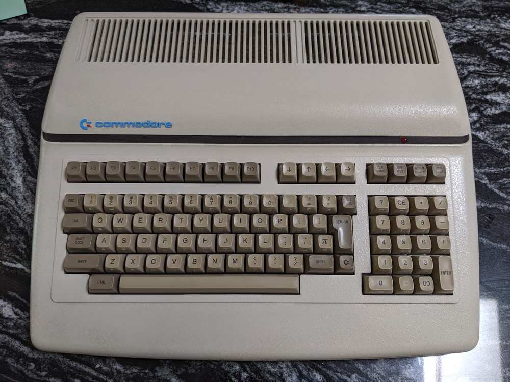 Commodore B128 computer, top view with keyboard