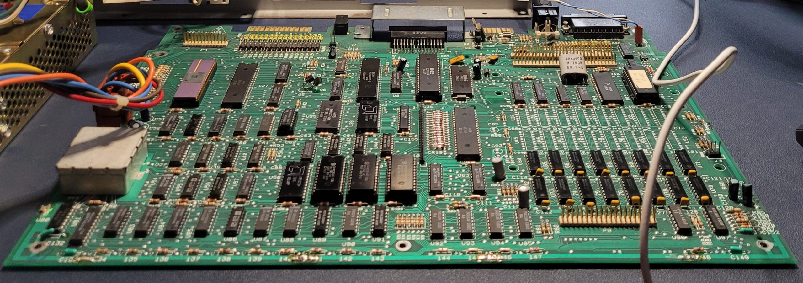 Commodore B128 logic board, angled view from the front of the machine