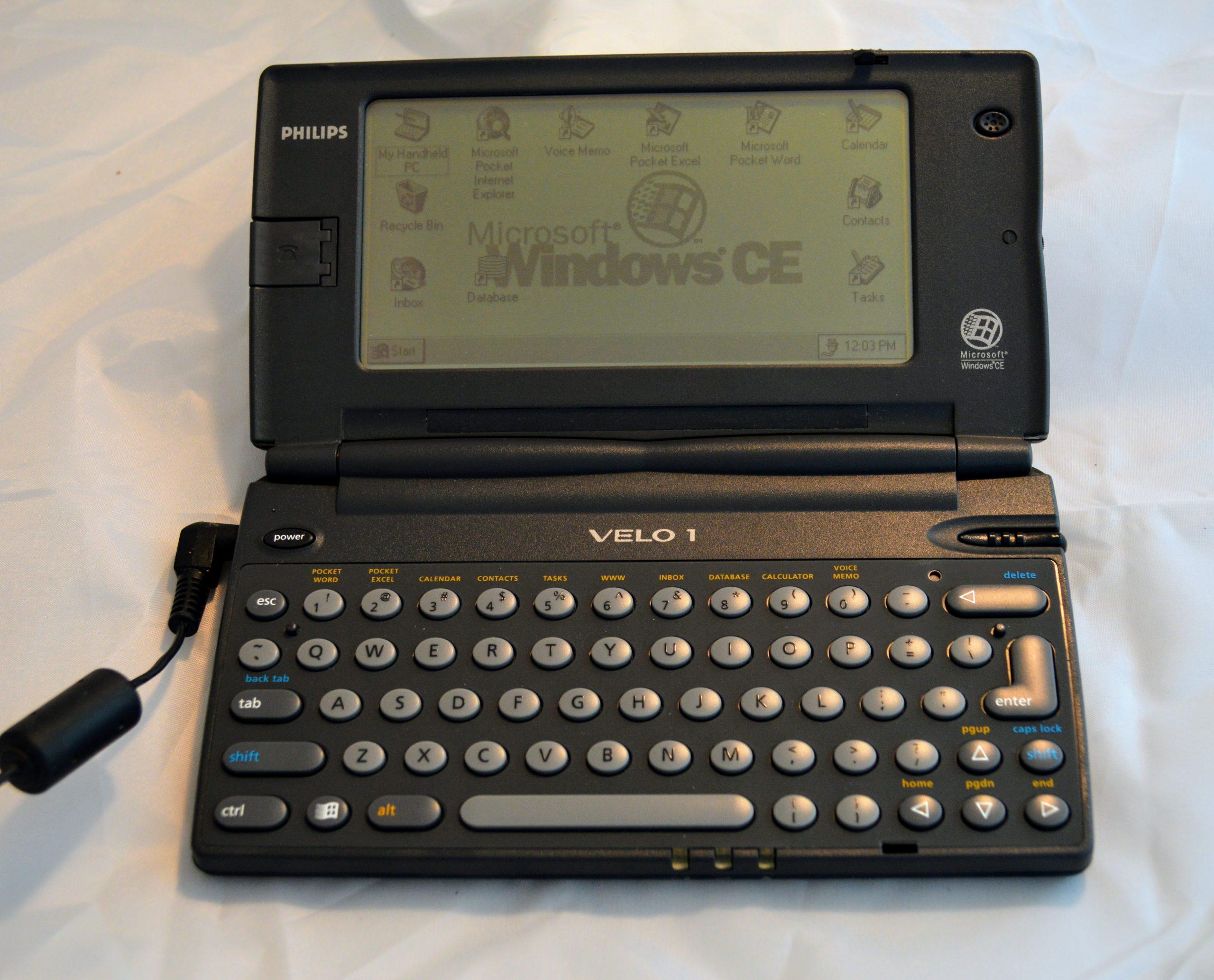 Philips Velo 1 handheld computer, powered on